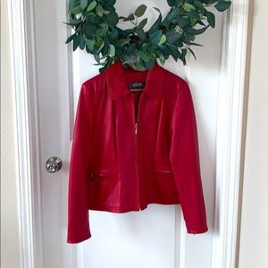 Genuine Red Leather Jacket Kenneth Cole